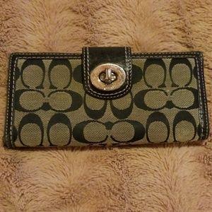 Coach Turn Lock Canvas Leather Trim Wallet